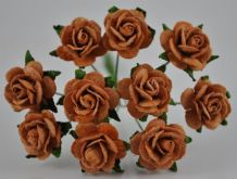 1.5cm COFFEE BROWN Mulberry Paper Roses